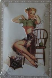 blikken reclamebord pin up wol / breien 20-30 cm