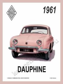 wandplaat renault dauphine affiche 15-20 cm