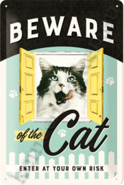 metalen wandbord beware of the cat 20-30 cm