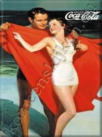 Metalen ansichtkaart Coca Cola man en vrouw aan zee 15x21 cm