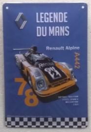 metalen bordje Renault Alpine du Mans 15x20 cm