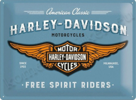 metalen wandplaat harley davidson free spirit riders 30-40 cm