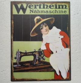 blikken wandbord Wertheim nahmaschine 23x33 cm