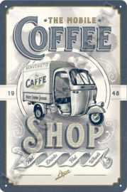 blikken reclamebord vespa ape, coffee shop 20-30 cm