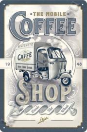 blikken reclamebord vespa ape, coffee shop 20-30 cm