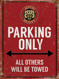 metalen wandplaat Austin Healey parking only 30x40 cm