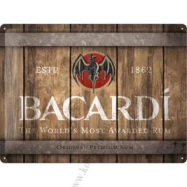 metalen wandplaat Bacardi barrel 30x40 cm