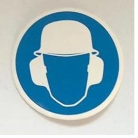 sticker veiligheidshelm en gehoorbescherming  5 cm