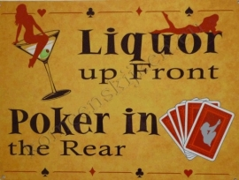 blikken reclamebord liquor and poker 30-40 cm
