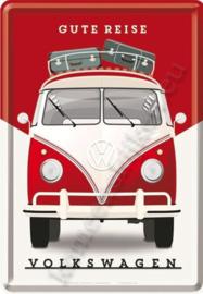 metalen ansichtkaart VW bus T1 gute reise 10-14 cm