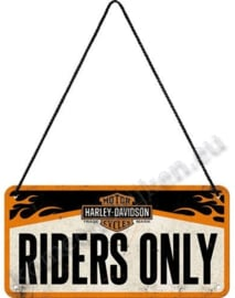 hanging sign harley davidson riders only 10x20 cm