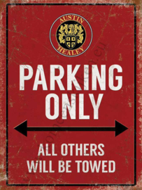 metalen wandbord Austin Healey parking only 15x20 cm