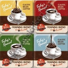 4 onderzettters classic bean coffee
