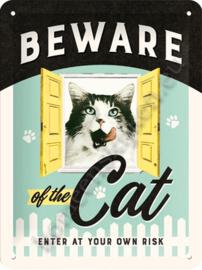 wandbord beware of the cat 15-20 cm