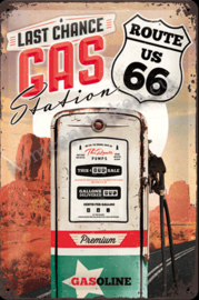metalen reclamebord xxl last chance gas, route 66  40-60 cm