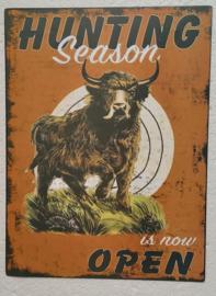 wandplaat hunting season 25 x 33 cm