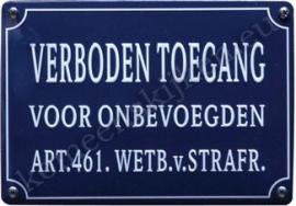 blikken wandbord verboden toegang voor onbevoegden 10-14 cm