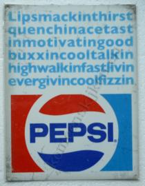 metalen wandbord pepsi cola lip smackin thirst 30-40 cm