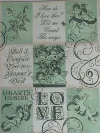 metalen wandbord love, engelen, thee 30-40 cm