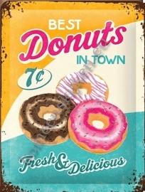 metalen wandbord donuts 15-20 CM