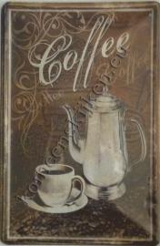 blikken wandbord coffee 20-30 cm