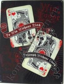 metalen wandplaat kaarten / poker 30-40 cm