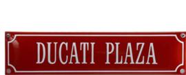 emaille straatnaambord ducati plaza / rood