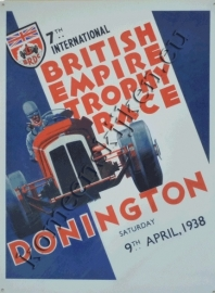 metalen wandbord Donington trophy race 1938 30-40 cm