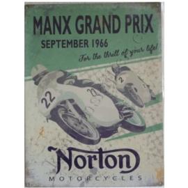 Metalen wandplaat Norton, manx GP 30-40 cm