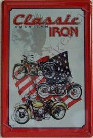 blikken wandbord Amercian classic iron 20-30 cm