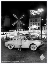 metalen reclamebord Renault Dauphine Moulin Rouge  20-30 cm