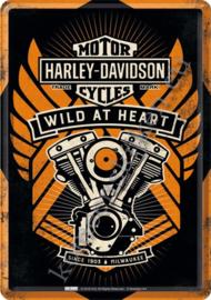 metalen ansichtkaart harley davidson wild at heart 10-14 cm
