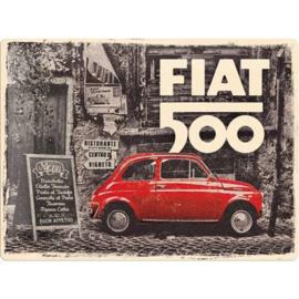 metalen wandbord Fiat 500  30x40 cm