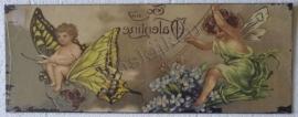 muurplaat vlinder en engeltjes 39,5 - 15 cm