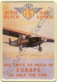 metalen ansichtkaart KLM see twice as much 10-14 cm