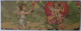 wandplaat 2 engeltjes met hart 39,5 - 15 cm