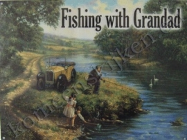 metal wall sign fishing with grandad 30-40 cm