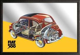 muurspiegel Fiat 500 inside