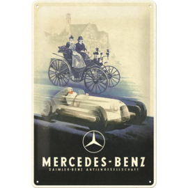 metalen wandbord Mercedes Benz historic silver arrow 20x30 cm