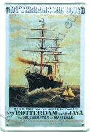 metalen ansichtkaart rotterdamse lloyd / java 10-14 cm