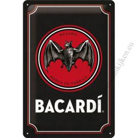 Zwart metalen reclamebord Bacardi 20x30 cm