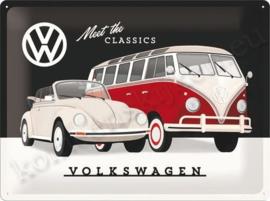 metalen reclameplaat volkswagen meet the classics 30-40 cm