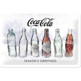 metalen wandbord Cola flesjes sneeuw 20x30 cm