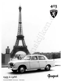 blikken reclamebord Peugeot 403 eiffeltoren 20-30 cm