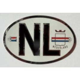 NL sticker ovaal met zilver 7,8 bij 5,2 cm