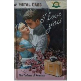 metalen ansichtkaart I love you parfum 10-14 cm