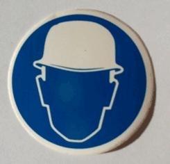 Blauwe sticker veiligheidshelm 5 cm rond
