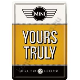 metalen ansichtkaart mini yours truly 10-14 cm