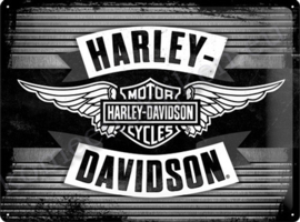 metalic reclamebord harley davidson 30-40 cm..
