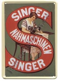 metalen ansichtkaart singer naaimachine 10-14 cm